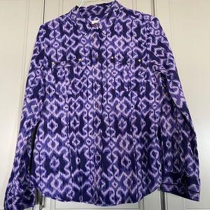 Michael Kors tie dye button down purple
